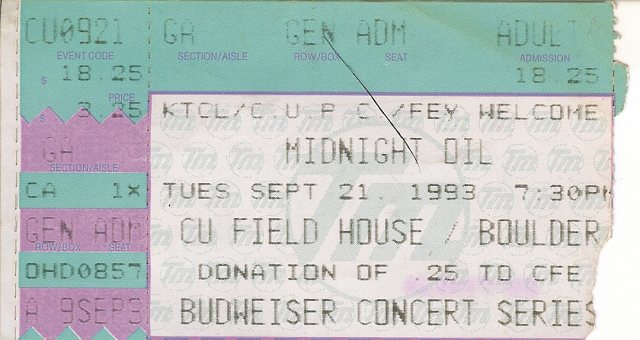 Midnight Oil Ticket